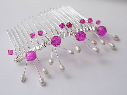 fuscia pink crystals & pearl sprays hair comb