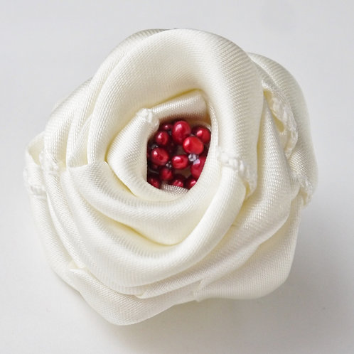 6cm ivory satin and cherry red pearl rose corsage