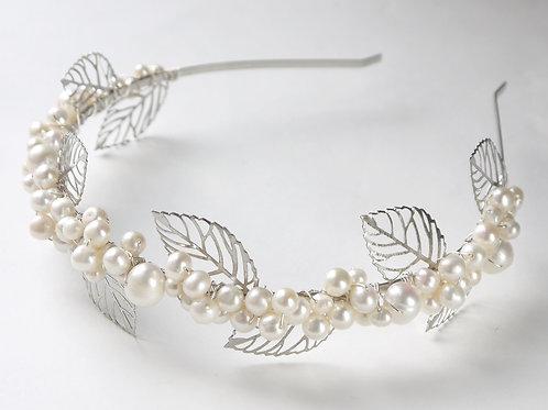 silver filigree leaves & pearls full bridal tiara
