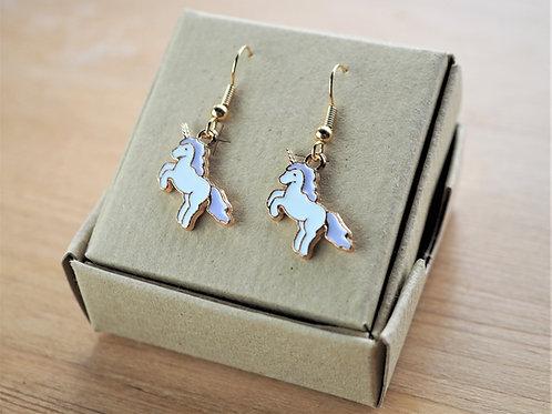 Lilac unicorn enamel earrings