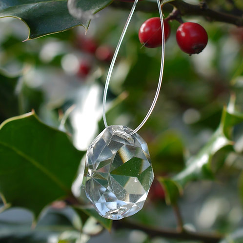 diamond cut round crystal tree decoration