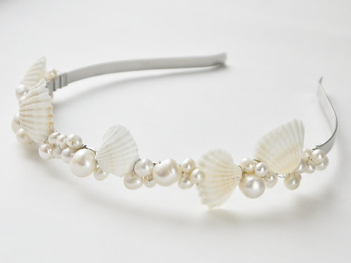 seashell & pearl full bridal tiara