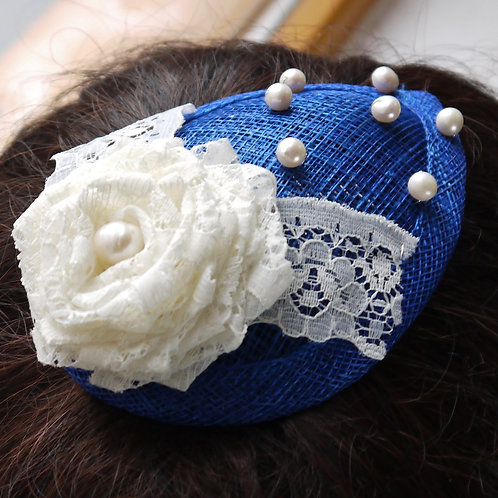 royal blue & ivory pearl & lace rose fascinator