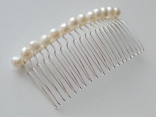 ivory pearl comb in silver