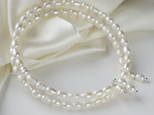 ivory freshwater rice pearl silver coil bracelet