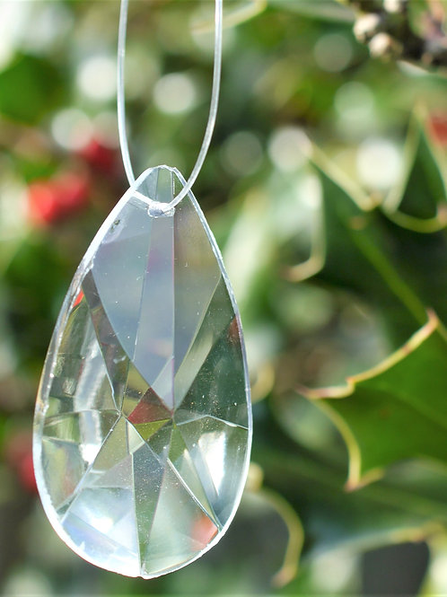 large flattened teardrop crystal tree decoration