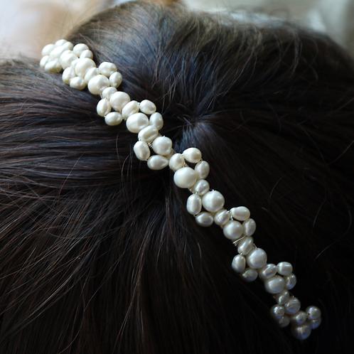 lace design ivory pearl tiara headband