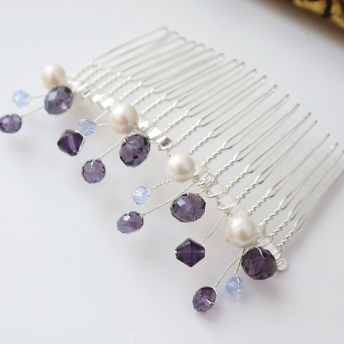 purple mixed crystal and ivory pearl hair comb
