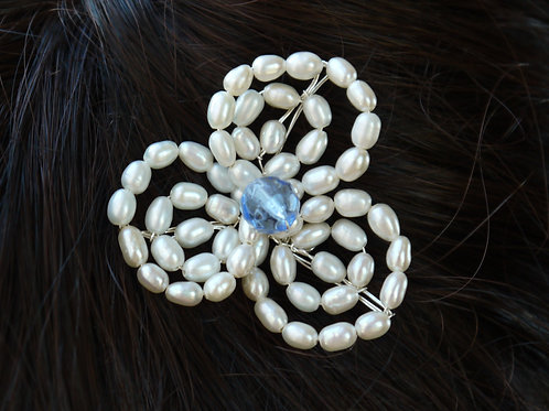 ivory pearl & crystal flower hair pin