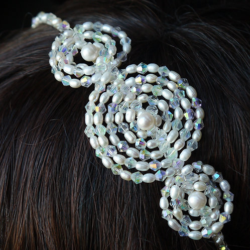 three circles of pearl & crystal bridal side tiara