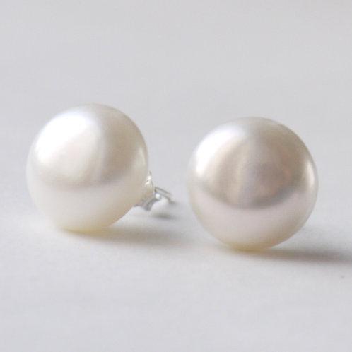 12-13mm large ivory pearl silver stud earrings