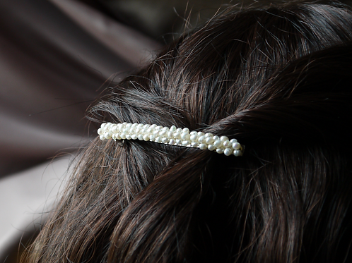 tiny freshwater pearls silver hair barrette