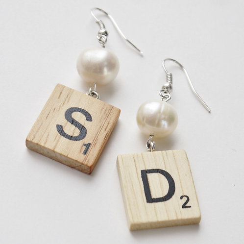custom Scrabble tile & large pearl earrings