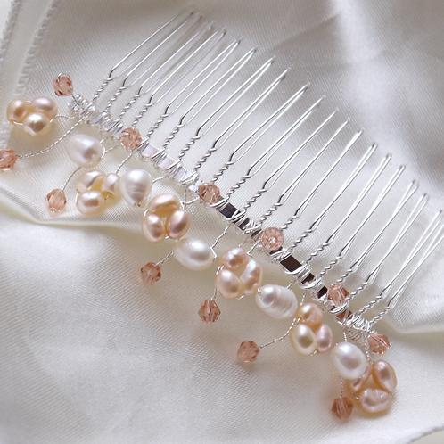 peach pearl, ivory pearl & peach crystal hair comb