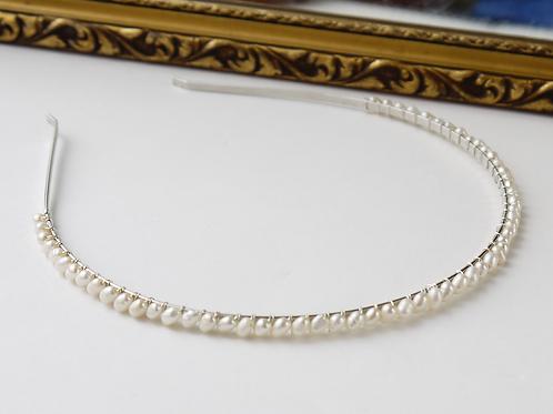 tiny ivory rice pearl wedding headband tiara