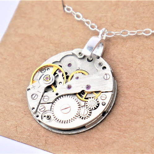 medium round vintage watch mechanism necklace on sterling silver chain