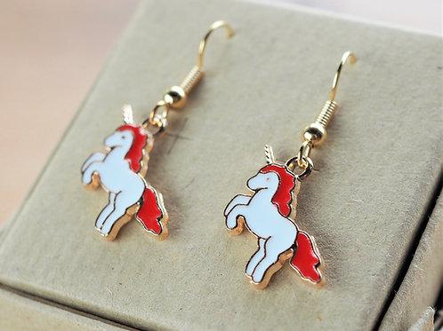 Red unicorn enamel earrings