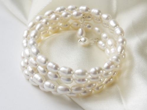 large ivory rice pearl long length silver bracelet
