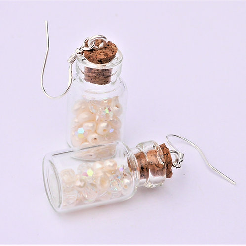 mini glass bottles filled with pearls and crystals earrings