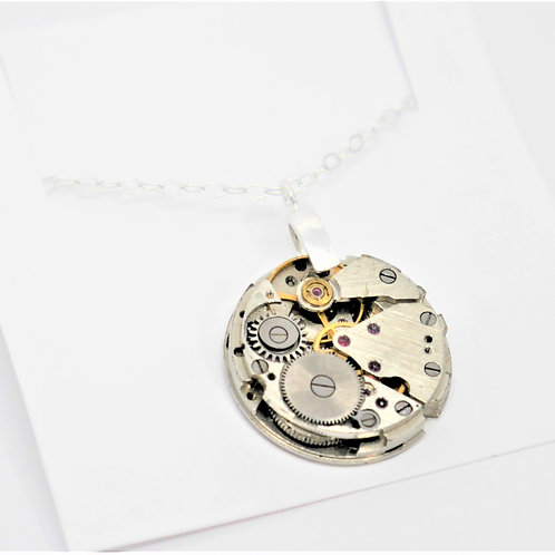 small round vintage watch mechanism necklace on sterling silver chain
