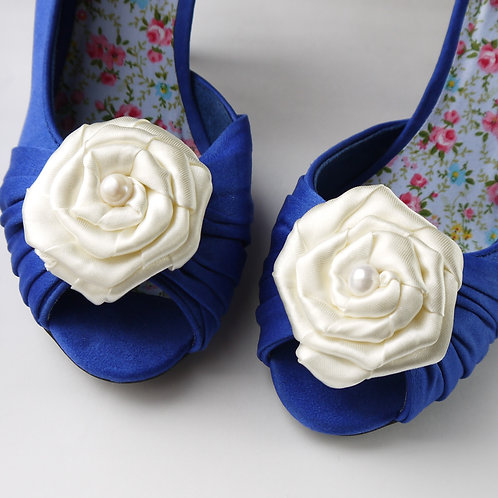ivory satin & freshwater pearl rose shoe clips