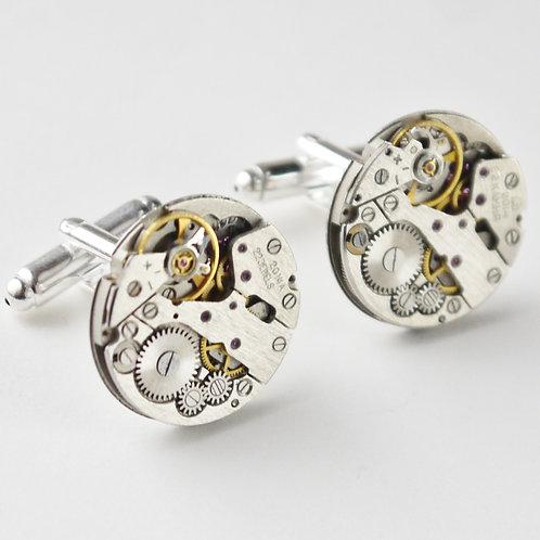 large round watch mechanism cufflinks