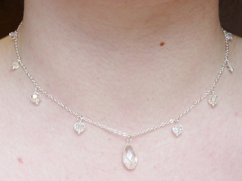 clear rainbow crystal droplets bridal necklace