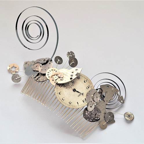 steampunk silver watch large comb