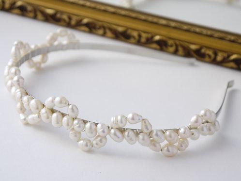 large ivory rice pearl lace design bridal headband