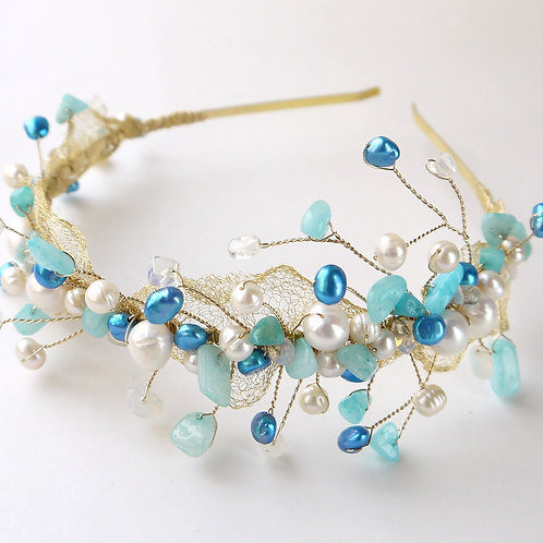 nautical bridal tiara in mixed blues pearls & gems