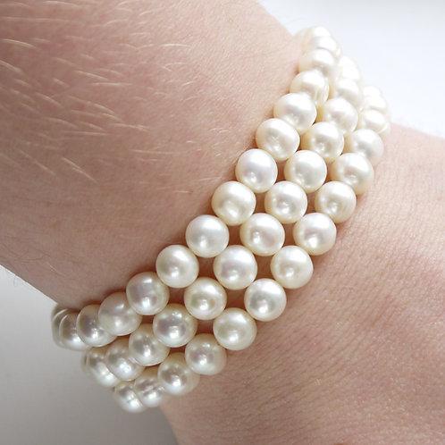three strand ivory freshwater pearl bracelet