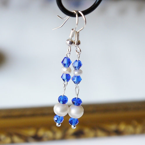 blue crystal and ivory pearl articulated earrings