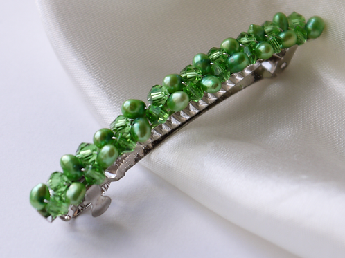 green pearl and crystal hair barrette clip