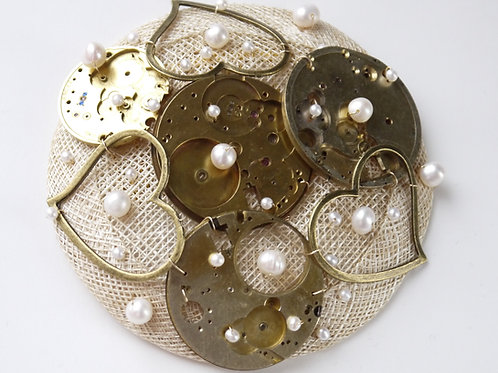 vintage brass watches, hearts & pearls fascinator