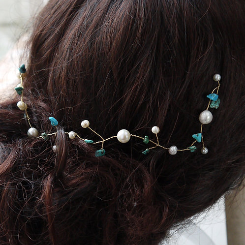 turquoise gemstone and pearl bridal hair vine