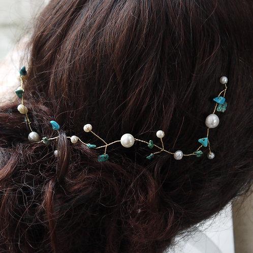 turquoise gemstone and pearl bridal hair vine