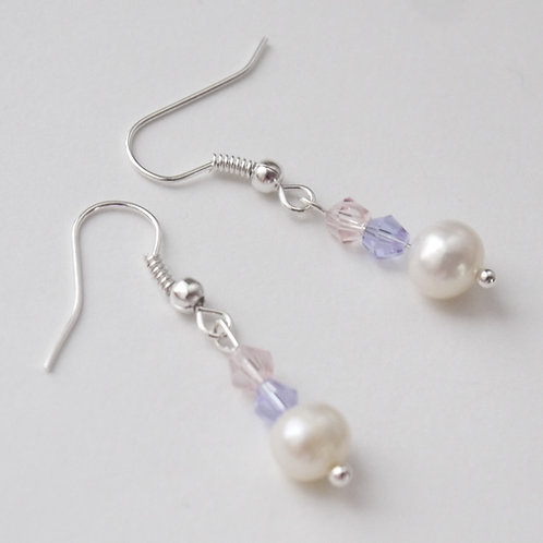 lilac & pink crystal and pearl hook earrings