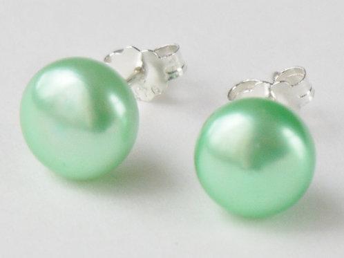 mint green 9mm pearl sterling silver stud earrings