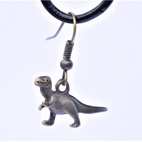 bronze T Rex dinosaur earrings