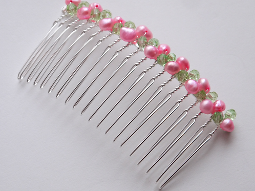 baby pink pearl and light green crystal hair comb