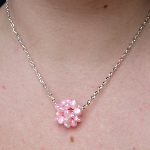baby pink freshwater pearl cluster necklace