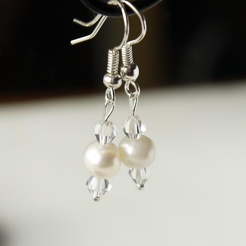 freshwater pearl & double crystal hook earrings