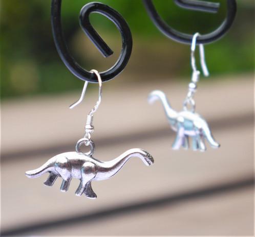 Diplodocus Dinosaur Earrings - Sterling Silver