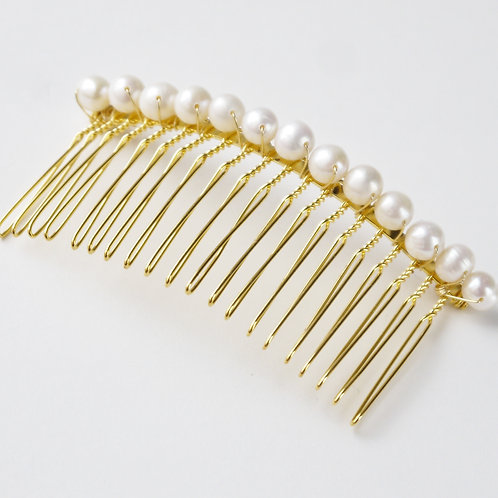 ivory pearl comb in gold