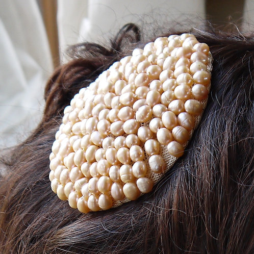 peach pearl round fascinator