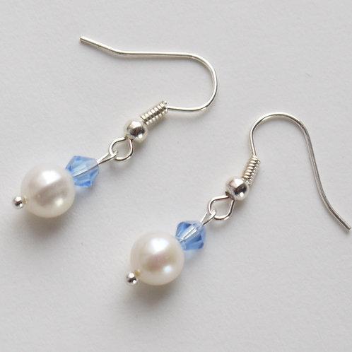 powder blue crystal & ivory pearl hook earrings