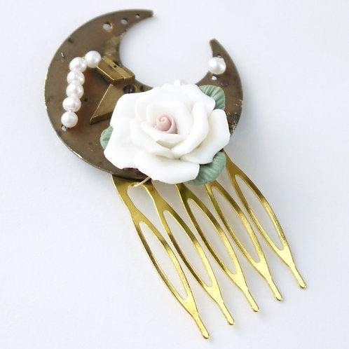 brass watch back, pearl and rose hair comb