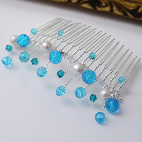 turquoise blue crystal and pearl silver hair comb