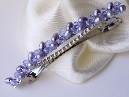 lilac purple pearl and crystal hair barrette clip