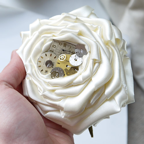 steampunk inspired watch parts rose corsage